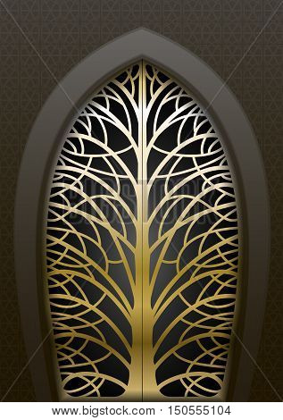 Fabulous golden gate in the east and the Arabian style of forging in the form of silhouettes of trees. Vector graphics