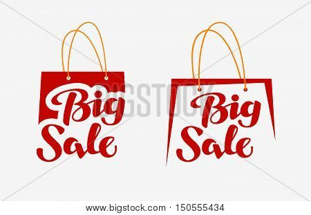 Big Sale on red shopping bag. Closeout icon, symbol