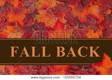 Fall Back message Some glittery fall leaves and a greeting card with text Fall Back 3D Illustration