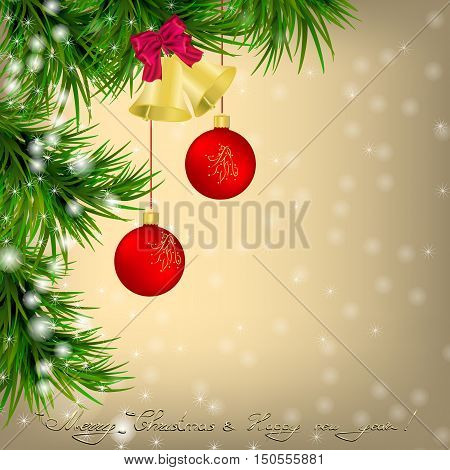 Golden Christmas and New Year Greeting card with Christmas tree snowflakes red Christmas balls and jingle bells
