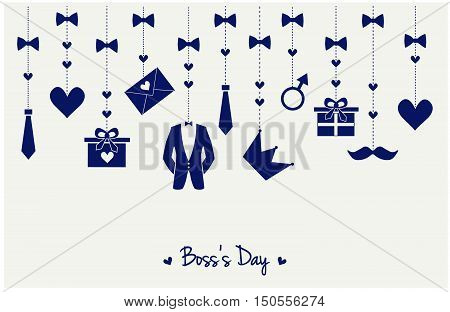 Boss day greeting card or background. vector illustration