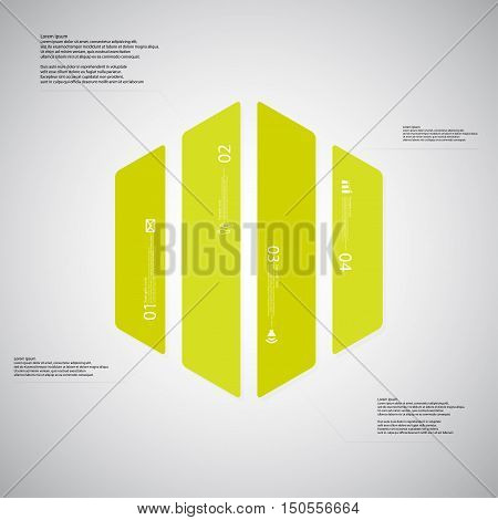 Hexagon Illustration Template Consists Of Four Green Parts On Light Background