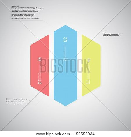 Hexagon Illustration Template Consists Of Three Color Parts On Light Background