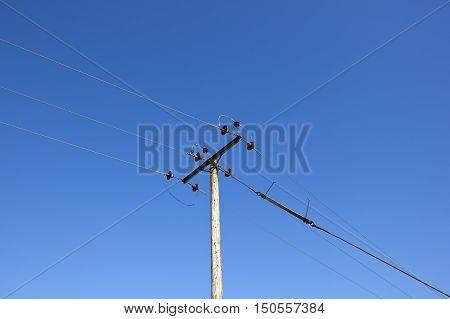 Telegraph Pole And Blue Sky