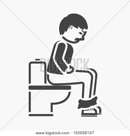 Diarrhea icon simple. Single sick icon from the big ill, disease simple.