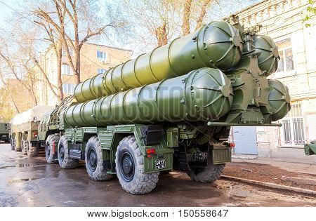 SAMARA RUSSIA - MAY 4 2015: Anti-aircraft missile system (SAM) S-300 parked up on the city street