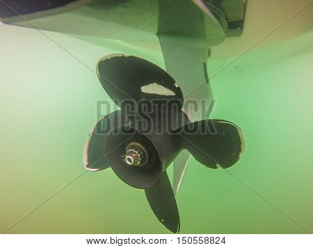 Propeller And Rudder Blade Motor Boats Underwater Photography