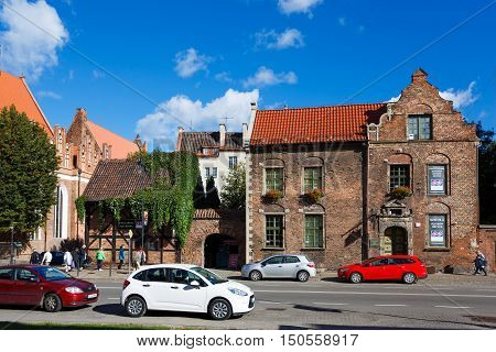 Gdansk Poland - October 04 2016: The houses in old city of Gdansk located on Rajska street