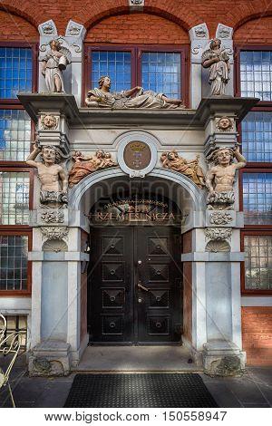 Gdansk Poland - October 04 2016: The ornamental wooden doors in old city of Gdansk