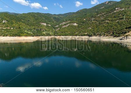 Amazing landscape with green forest around Vacha (Antonivanovtsy) Reservoir, Rhodopes Mountain, Bulgaria