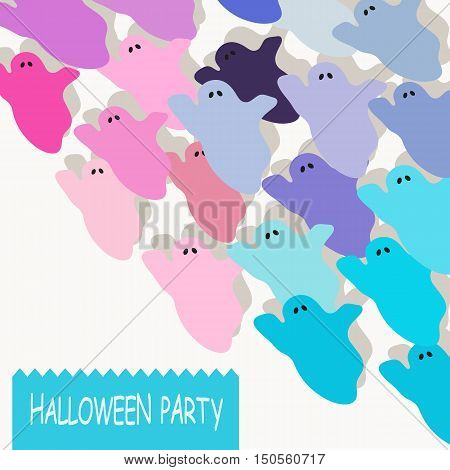 Halloween colorful ghost background. Set of cute cartoon colorful ghosts on white background with text Halloween party .