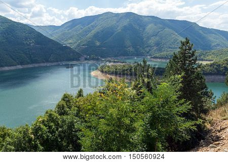 Panorama of Meander of Vacha (Antonivanovtsy) Reservoir, Rhodopes Mountain, Bulgaria