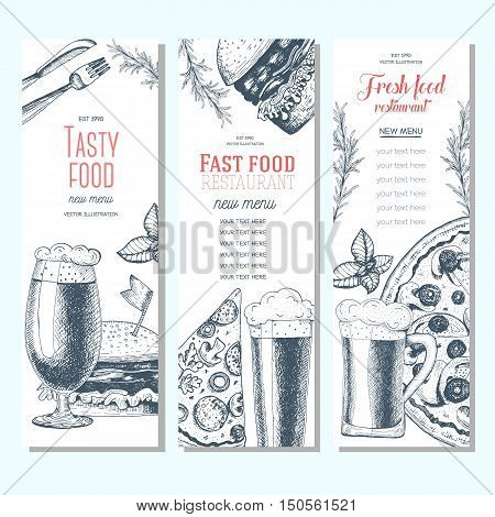 Fast food banner set. Pizza hamburger and beer collection. Vector illustration linear graphic drawn. Pub menu.