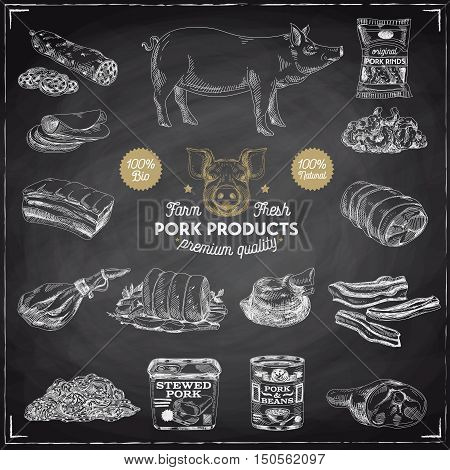 Vector hand drawn Illustration with meat products. Pork meat. Sketch. Vintage style. Retro background. Chalkboard