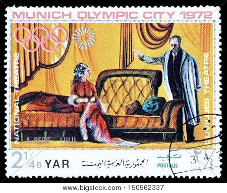 YEMEN - CIRCA 1972 : Cancelled postage stamp printed by Yemen, that shows Scene from theater.