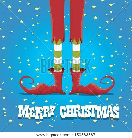 vector creative merry christmas greeting card, christmas cartoon elfs legs on blue background