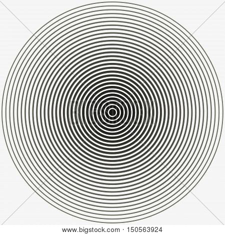 Concentric circle. Illustration for sound wave. Black and white color ring.