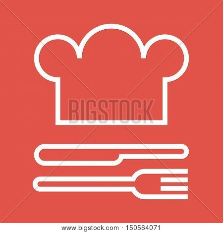 Chef hat fork and knife. Restaurant and gastronomy symbol