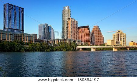 Austin Texas skyline from the shore of Lady Bird Lake along the Colorado River