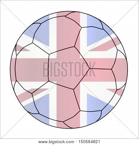 A typical soccer football isolated over a white background with the Union Jack flag imposed