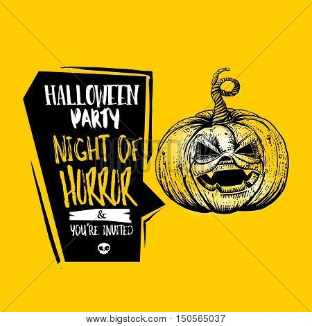 Happy Halloween party concept for Night of Horror party. Holidays Vector illustration. Sketch drwaing jack pumpkin with typography.