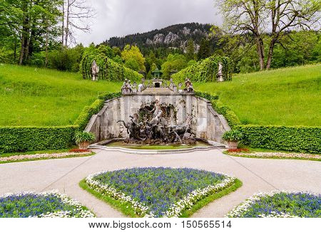 View Of The Neptune Fountain And Music Pavilion. Linderhof Palace, Bavaria, Germany.