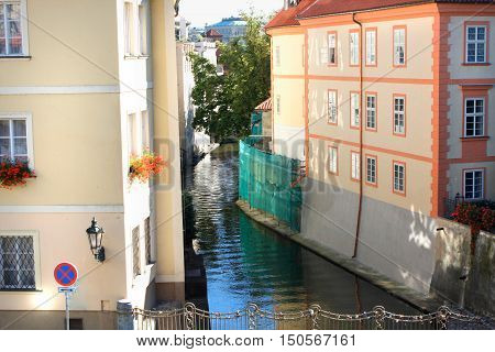 Prague Czech Republic panorama with watercanal in town of Vltava river