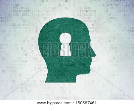 Data concept: Painted green Head With Keyhole icon on Digital Data Paper background