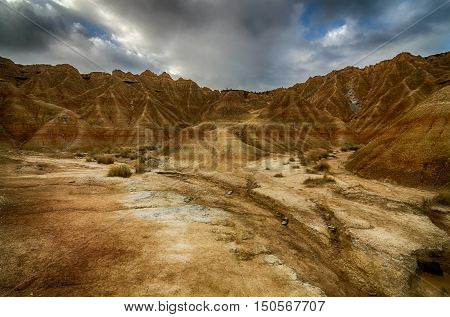 badlands, of some 42,000 hectares ;100,000 acres; in southeast Navarre ;Spain.