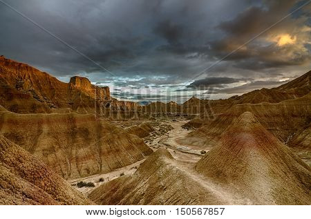 badlands, of some 42,000 hectares ;100,000 acres; in southeast Navarre ;Spain;