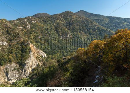 Autumn Landscape to  Rhodopes mountain from Asen's Fortress,  Plovdiv Region, Bulgaria