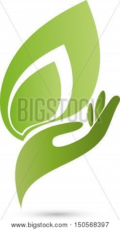 Hand and leaf in green, medical practitioner logo