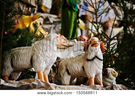 Very Large Christmas Nativity Crib. Toy Sheep