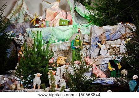 Very large christmas nativity crib in church.