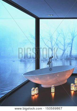 Warm cozy modern bathroom with glowing candles surrounding a freestanding bot-shaped bathtub on a corner with wrap around view windows overlooking misty water in winter, 3d rendering