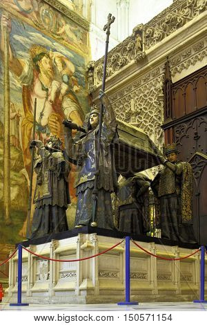 SEVILLE, SPAIN - MARCH 14, 2013: Tomb of Columbus in Seville Cathedral