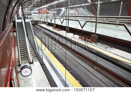 MADRID, SPAIN - September 05, 2016: Hall of underground railway station Sol in the center of Madrid