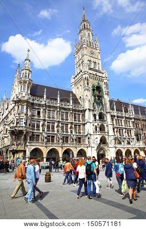 MUNICH, GERMANY - May 18, 2016: People near New city hall at Marienplatz in Munich