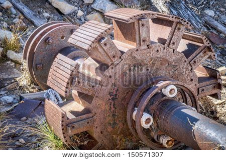 a rotor of vintage electric motor that was used to run air compressor at a gold mine near Mosquito Pass, Colorado