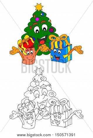 Smiling Christmas tree with smiling gifts like coloring books for small children - vector