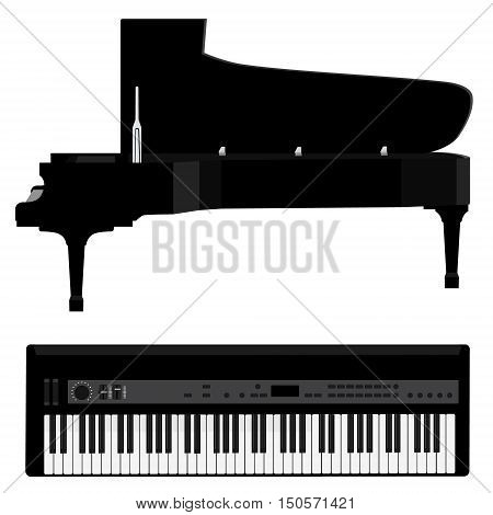 Vector illustration grand black realistic piano and black synthesizer. Piano keys . Forte piano. Musical instrument