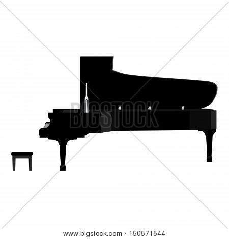 Vector illustration grand black realistic piano and piano bench stool. Forte piano. Musical instrument