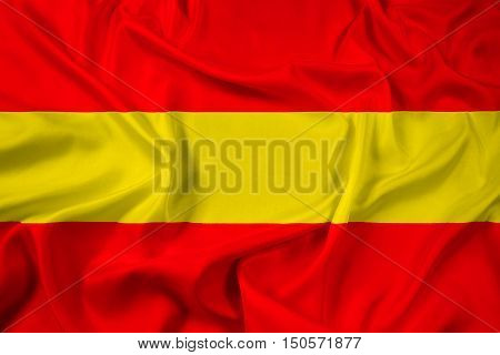 Waving Flag of Karlsruhe Germany, with beautiful satin background. 3D illustration