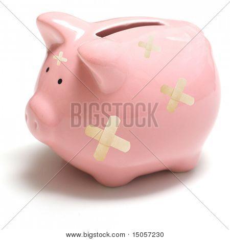 An angry and upset piggy bank