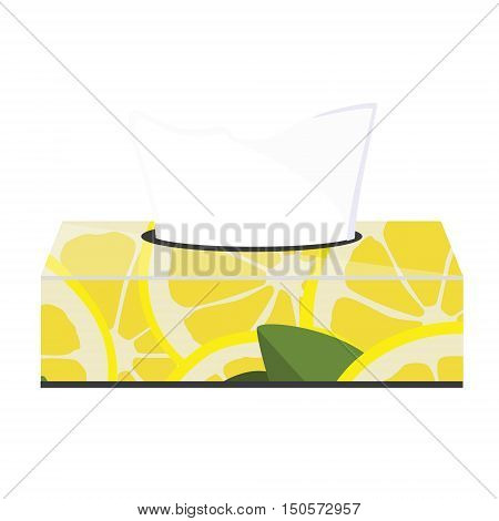 Vector illustration tissue box with seamless pattern with lemon slices and tissue paper inside.