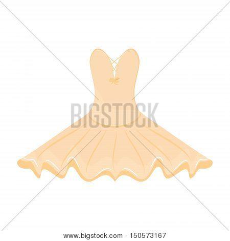 Vector illustration orange ballet dress. Ballet tutu for ballerina.
