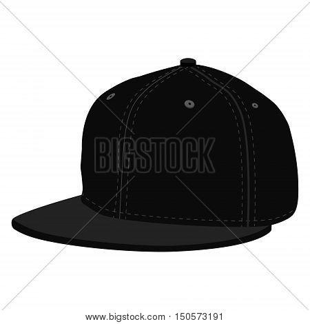 Vector illustration black hip hop or rapper baseball cap. Baseball cap icon
