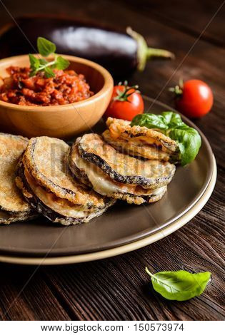 Eggplant Stuffed With Mozzarella, Served With Tomato Salsa