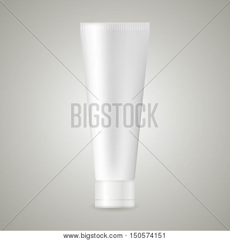 Blank white realistic tube for cosmetics cream ointment toothpaste lotion medicine creme etc. isolated on white background