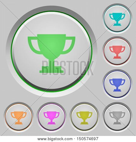 Set of color trophy cup sunk push buttons.